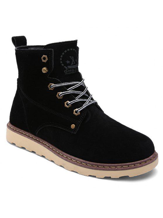 العيينة الدانتيل متابعة جلد الغزال الأحذية قصيرة - أسود 44
