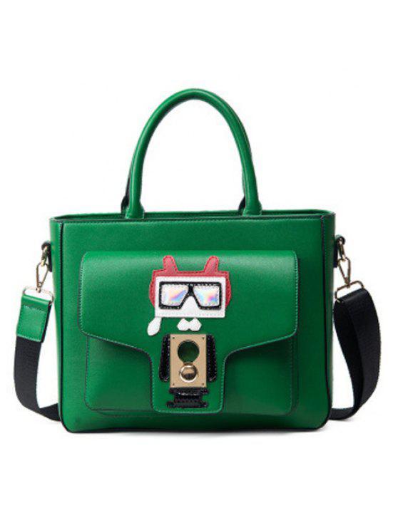 المعادن منمق بو الجلود روبوت حقيبة يد - أخضر