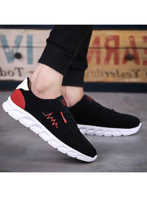 قطيع خطابات الدانتيل متابعة الأحذية الرياضية - الأحمر مع الأسود 42