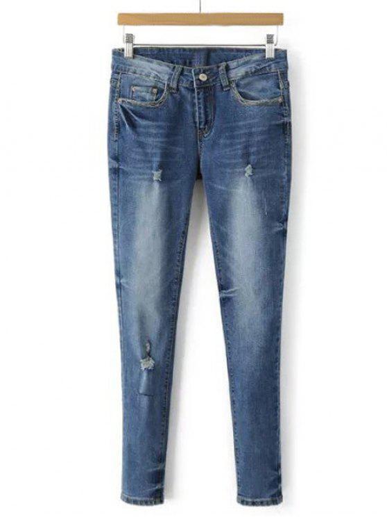 Pantalon crayon en denim blanchi effiloché - Bleu clair XL