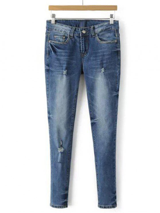 Pantalones Lápiz Mezcliya Deslavados y Rasgados - Azul Claro M