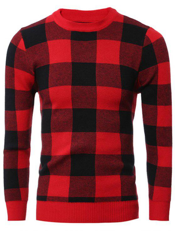 hot Slim-Fit Crew Neck Checkered Pullover Sweater - RED L