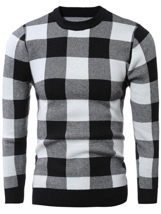 Maglione Pullover A Quadri Con Colletto Girocollo Aderente - Nero L