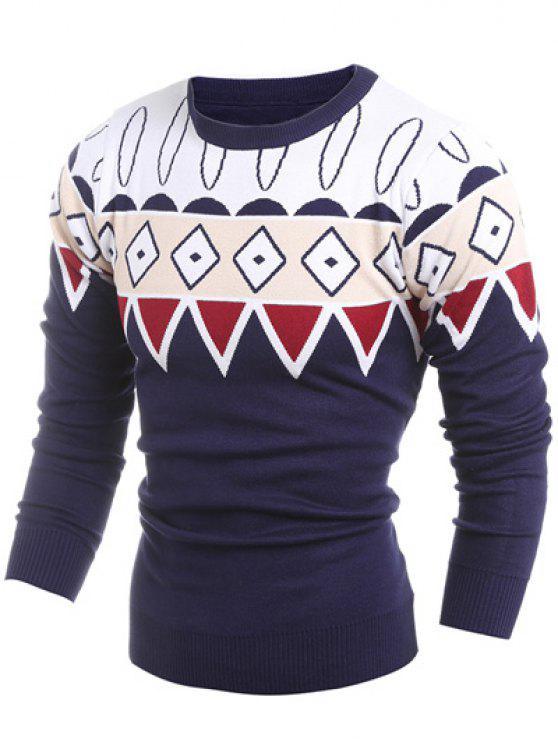 Maglione Con Motivo Geometrico E Colletto Girocollo A Coste - Blu Violaceo M
