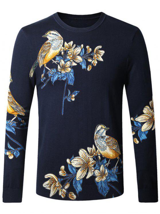 Plus Size-Vogel-Blumendruck-Pullover-Strickjacke - Kadettenblau XL