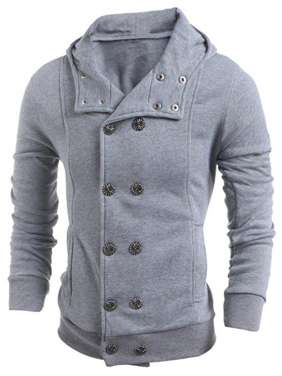trendy Long Sleeve Side Pocket Double Breasted Hoodie - LIGHT GRAY M