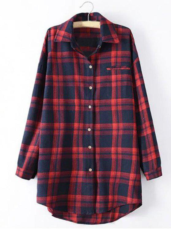 women Long Sleeve Checked Long Shirt - RED XL