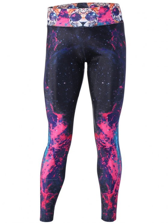 shops Flame Galaxy and Cat Printed Yoga Pants - ROSE RED M