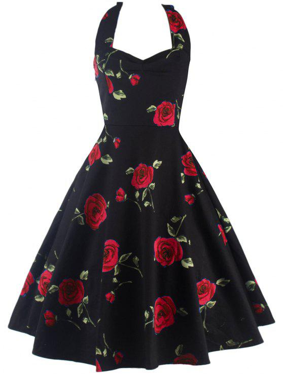 lady Halter Floral A Line Cocktail Skater Dress - RED M