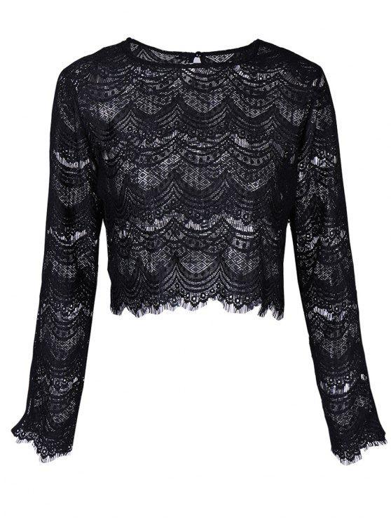 Rodada Long Neck Sleeve Lace Top - Preto XL