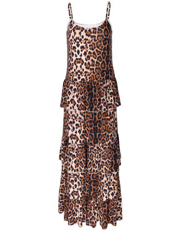Slip con gradas vestido maxi - Leopardo XL
