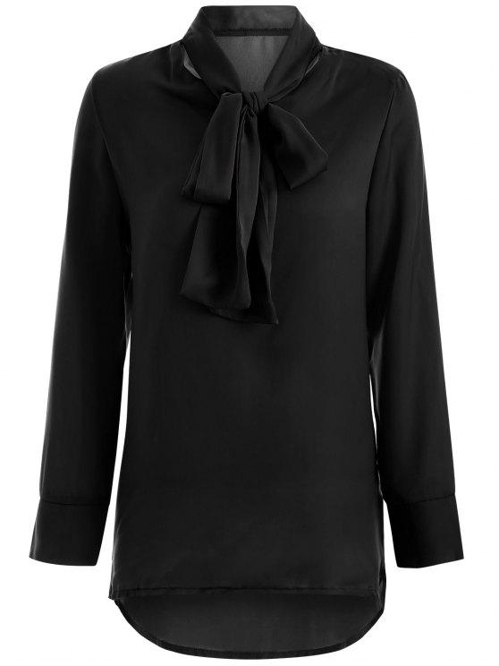 best Long Sleeve Pussy Bow Blouse - BLACK M