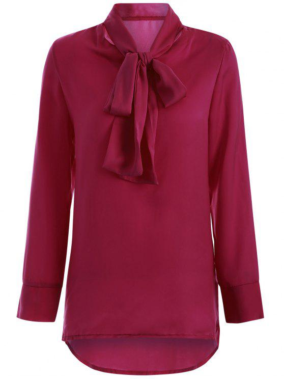 new Long Sleeve Pussy Bow Blouse - WINE RED XL