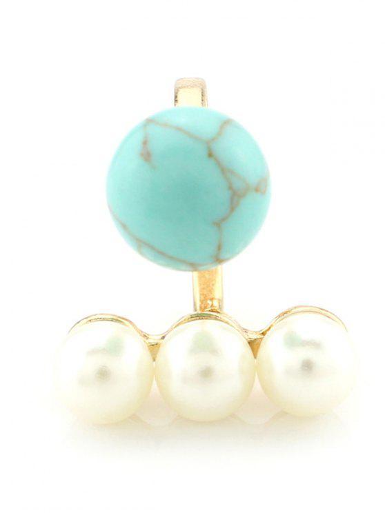 Bola del anillo de la perla de Faux - Turquesa