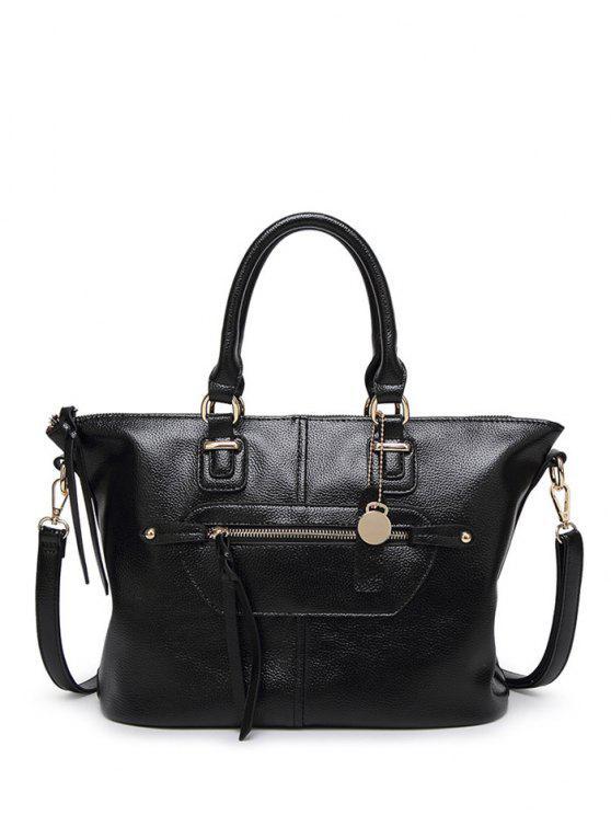 زيب محكم بو حقيبة يد جلدية - أسود