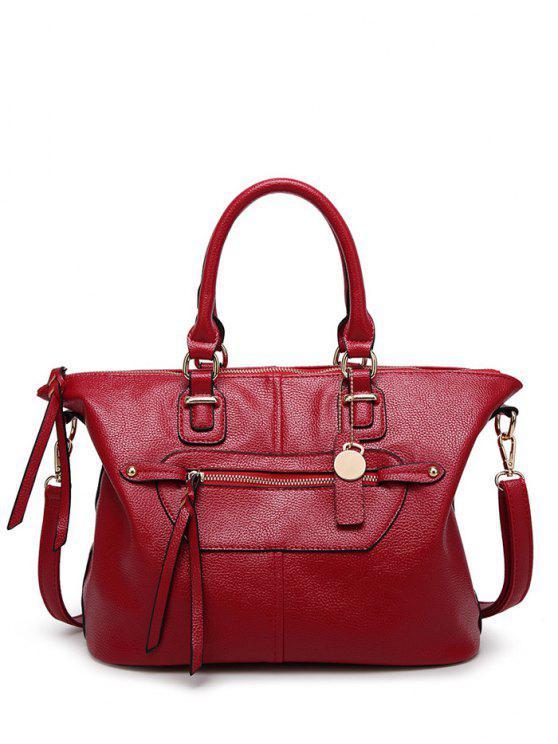 زيب محكم بو حقيبة يد جلدية - نبيذ أحمر