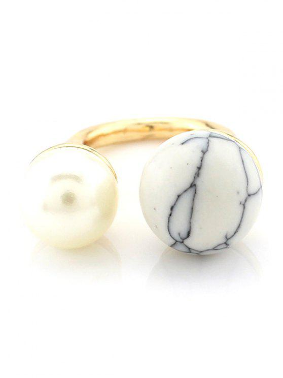 chic Faux Pearl Bead Ring - WHITE