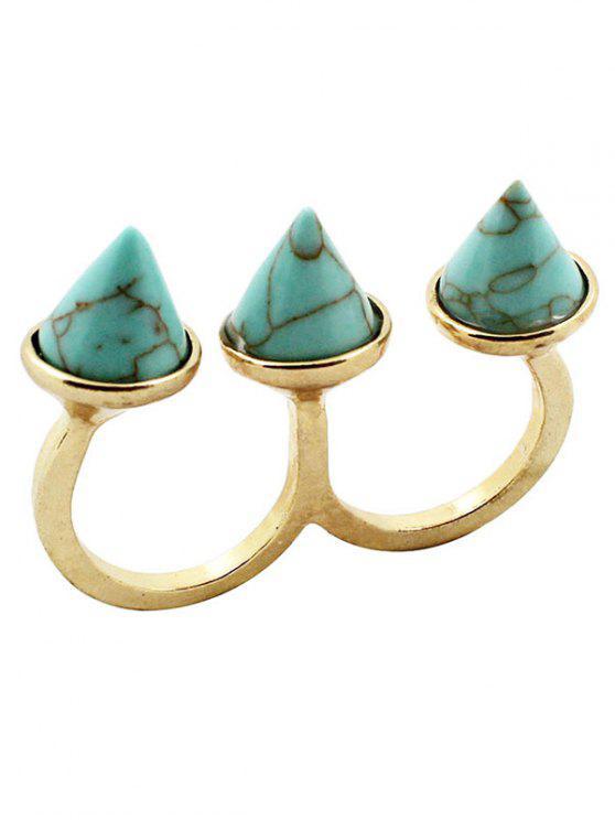 Cone triplo anel de dedo - Turquesa