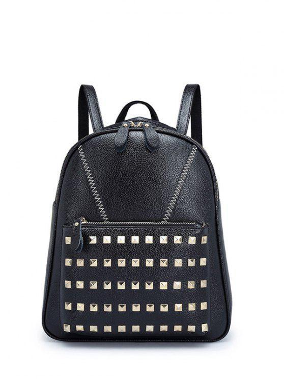 ladies PU Leather Stitching Rivet Backpack - BLACK