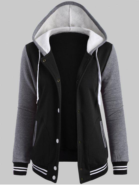 hot Plus Size Hooded Varsity Baseball Fleece Sweatshirt Jacket - BLACK 3XL