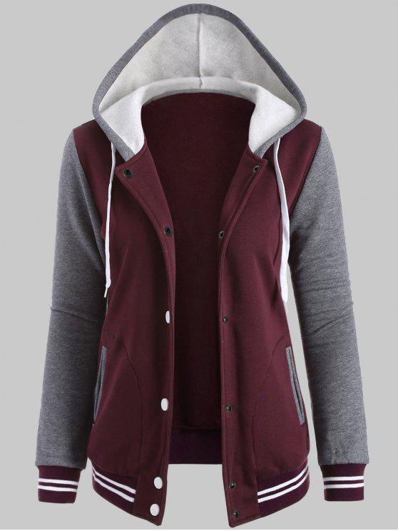 Jaqueta de lã com capuz botão de pressão manga contraste - Vinho vermelho XL