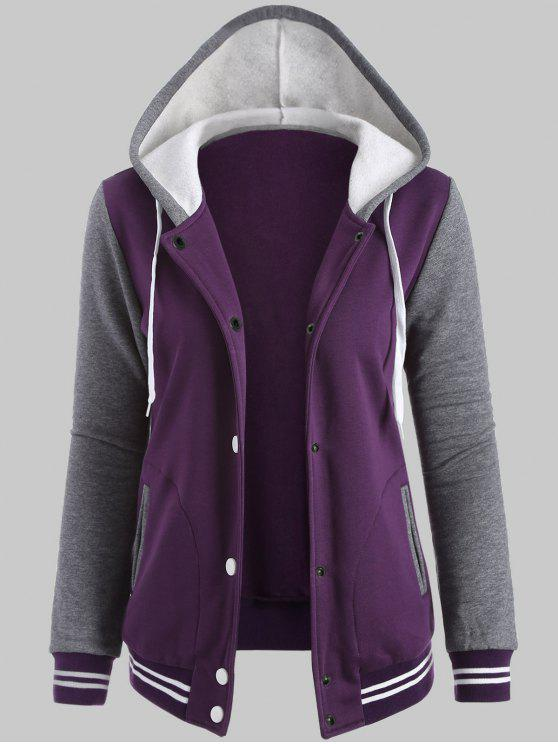 6c1723048cc Plus Size Hooded Varsity Baseball Fleece Sweatshirt Jacket - Purple 4xl