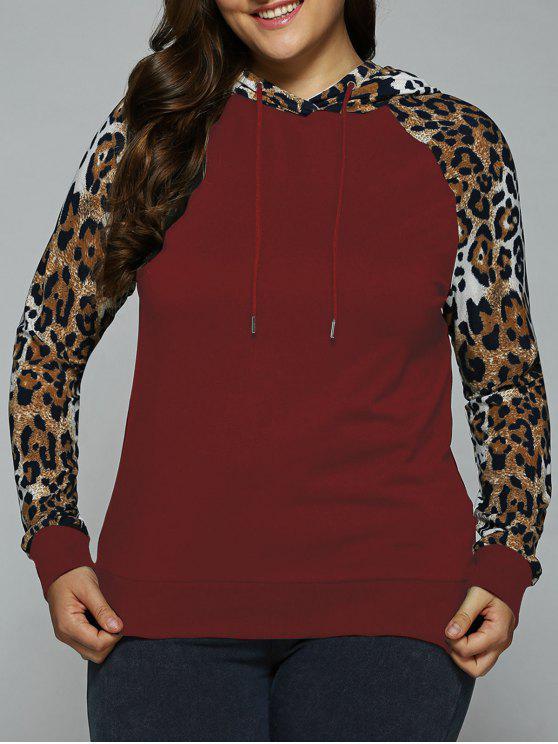 Plus Size Raglan manica Leopard Trim con cappuccio - Vino rosso 2XL