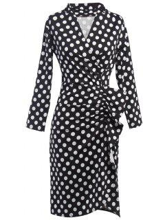 Polka Dot Ruched Surplice Dress - Black M