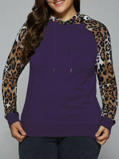 Plus Size Leopard Trim Raglan Sleeves Hoodie - Deep Purple Xl