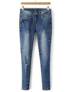 Bleach Wash Frayed Denim Cigarette Pants - Light Blue M