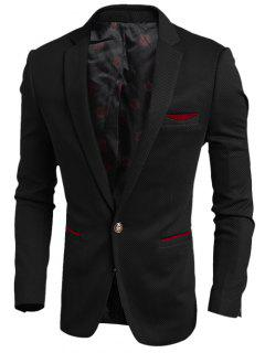 Contrast Trim Pocket Notch Lapel Texture One-Button Blazer - Black M