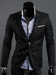 Back Vent Notch Lapel Single Breasted Blazer - Black 2xl