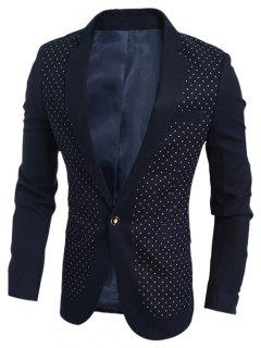 Chest Pocket Notch Lapel Polka Dot Blazer - Cadetblue Xl