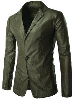 Stere Patch Pocket PU Leather Blazer - Green 2xl