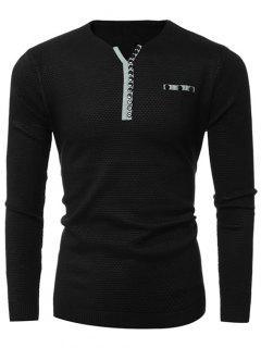 Notch Neck Zipper Embellished Popcorn Knitted Sweater - Black L