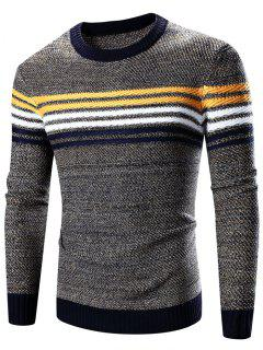 Crew Neck Striped Splicing Pattern Long Sleeve Sweater - Cadetblue L