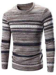 Crew Neck Waviness Splicing Pattern Long Sleeve Sweater - Coffee M