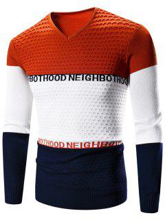 V-Neck Color Block Splicing Graphic Print Long Sleeve Sweater - Orange M