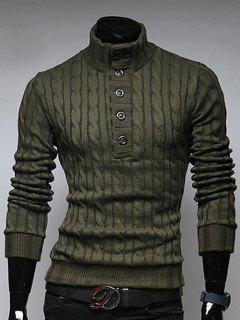 Stand Collar Half Button Up Twist Sweater - Army Green L