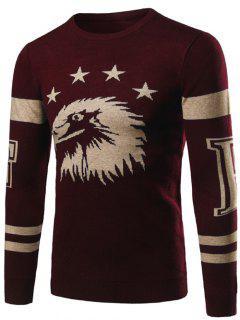 Sweat-shirt  A Encolure Avec Graphique De Nervure Au Brassard   - Rouge Vineux  L