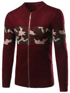 Camo Pattern Rib Cuff Stand Collar Zip Up Cardigan - Wine Red 2xl
