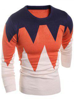 Zigzag Pattern Crew Neck Flat Knitted Sweater - Light Apricot M