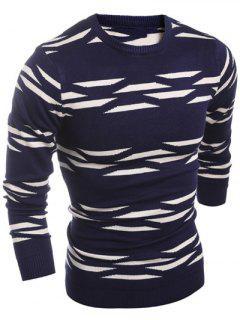 Geometric Pattern Crew Neck Flat Knitted Sweater - Cadetblue Xl