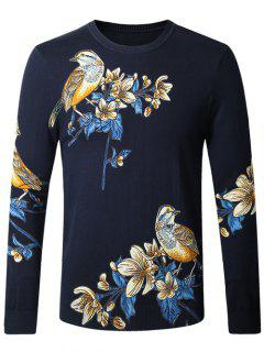 Bird Floral Print Pullover Sweater - Cadetblue M