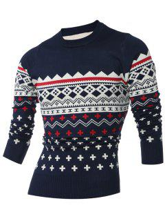 Crew Neck Geometric Pattern Long Sleeve Sweater - Cadetblue M