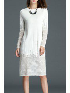 Vea A Través Longitud De La Rodilla Vestido De Punto - Blanco S