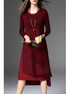 High Low Langarm Kleid - Weinrot S