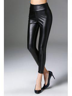 High Waist Skinny Faux Leather Pants - Black M