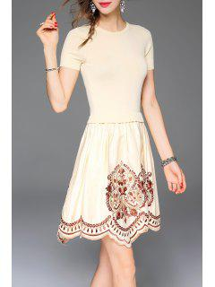 Embroidered A Line Short Sleeve Dress - Apricot S