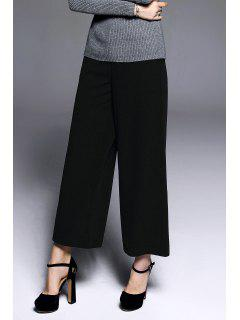 Twin Pocket Ninth Wide Leg Pants - Black S